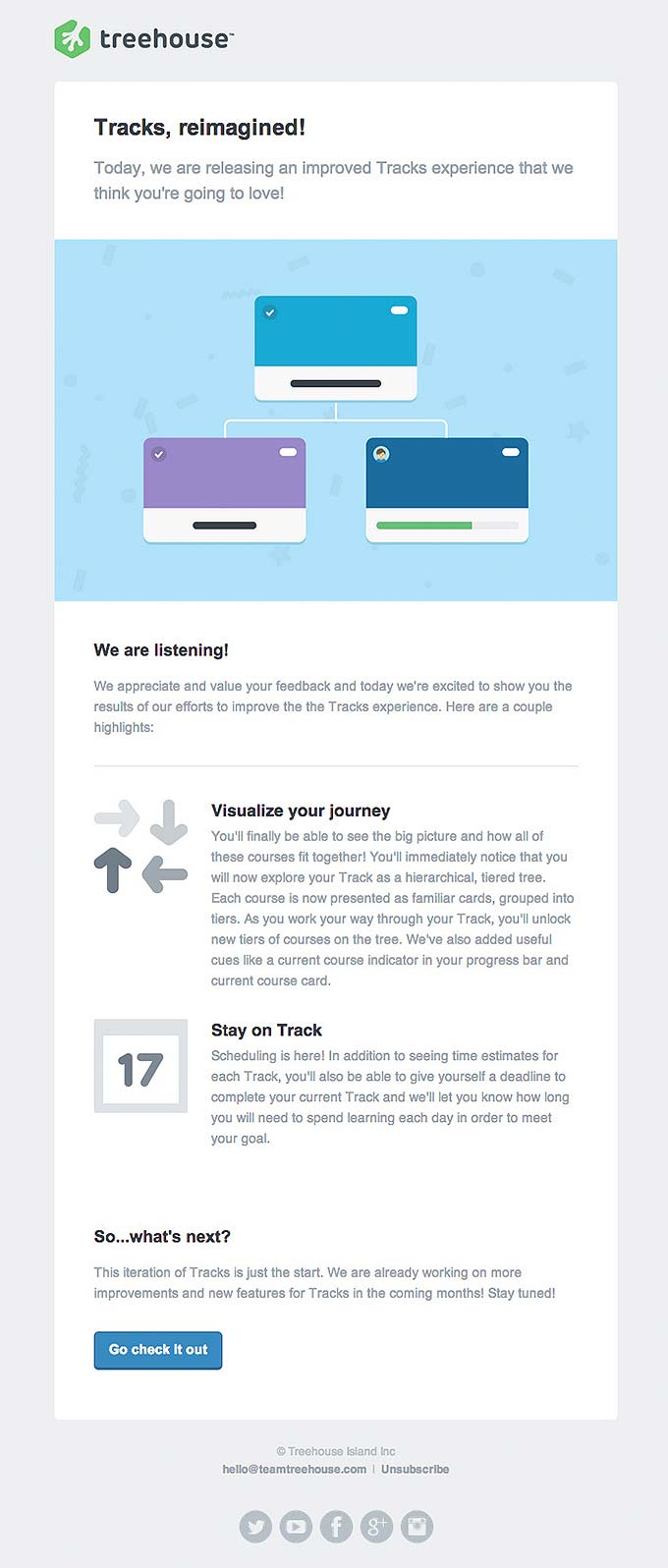 Product Update Email Design from Treehouse