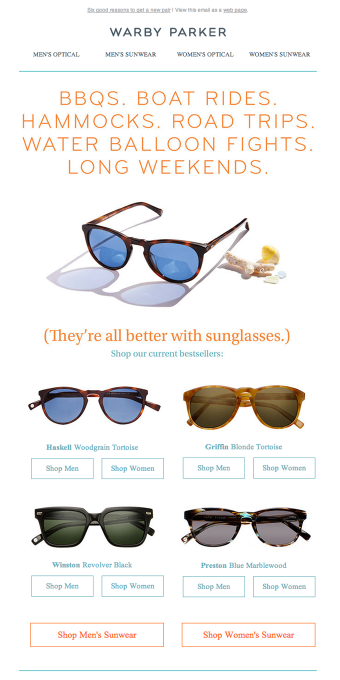 Product Update Email with Great Responsive Layout from Warby Parker