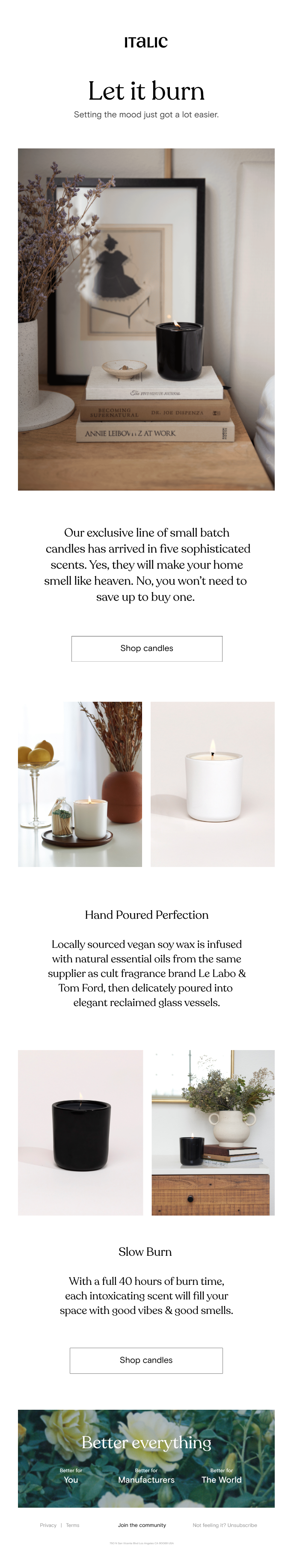 PSA: Italic Candles are officially here