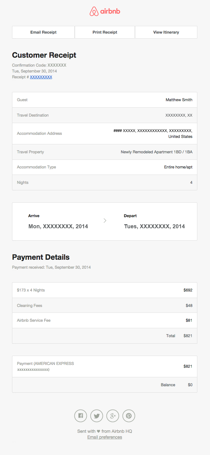 Billing Receipt For Reservation Xxxxxx Really Good Emails