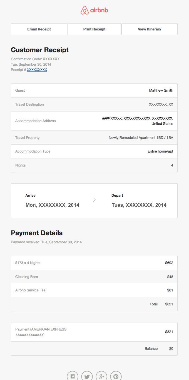 Billing receipt for reservation XXXXXX