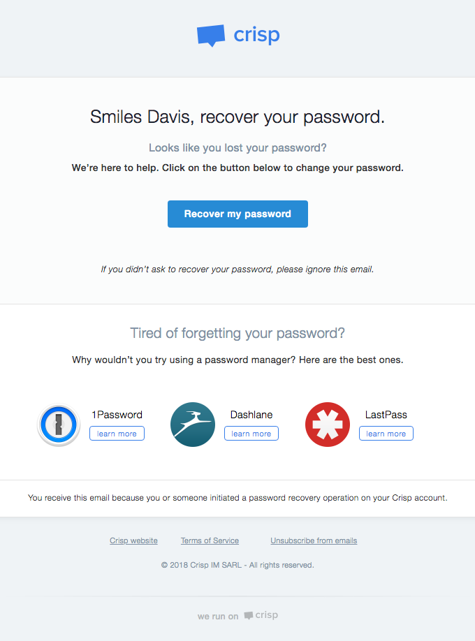 Recover your Crisp password