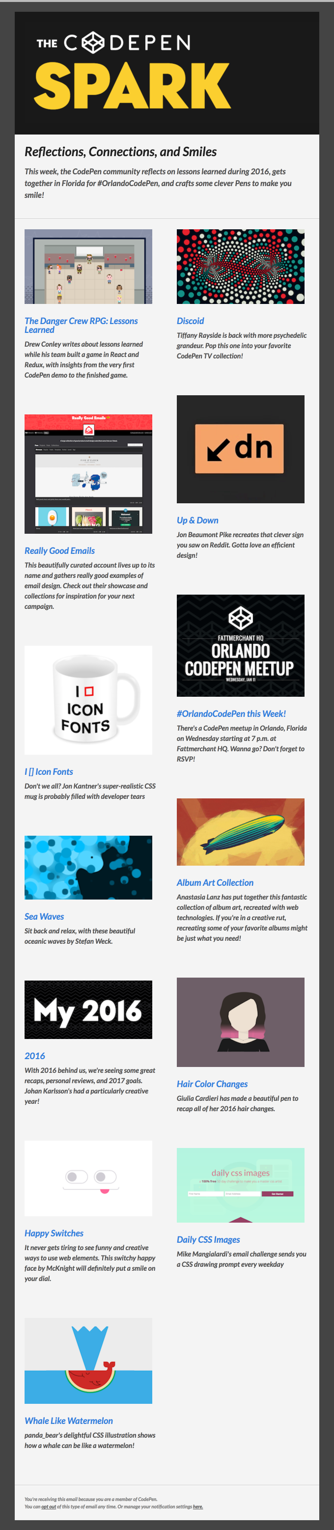 Codepen Emails on Really Good Emails