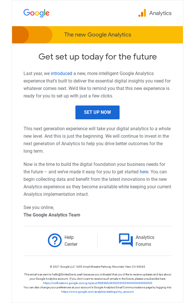 Remember to set up today for the future of Google Analytics