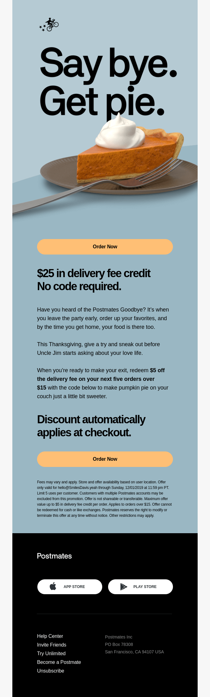 Reminder: $25 Delivery Fee Credit