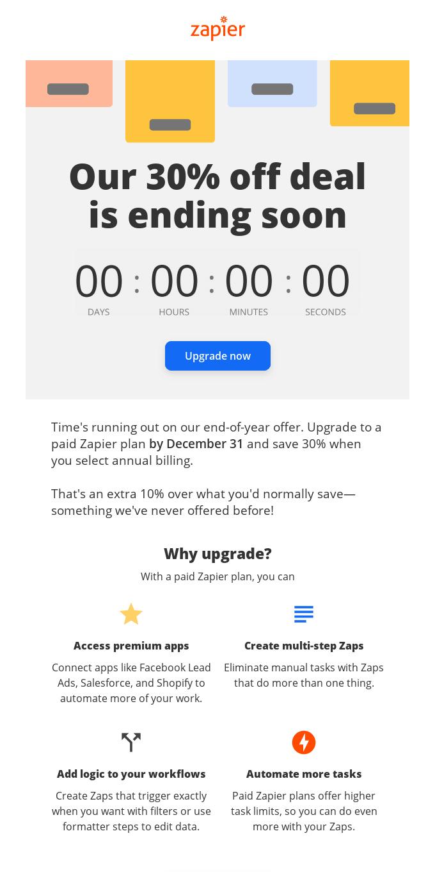 Reminder: Save 30% on Zapier in 2021