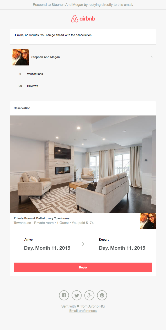 Reservation at Private Room & Bath-Luxury Townhome for Month, Day 1 – Day 2, 2015