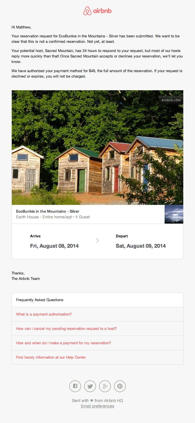 Reservation Receipt Email Design from AirBNB