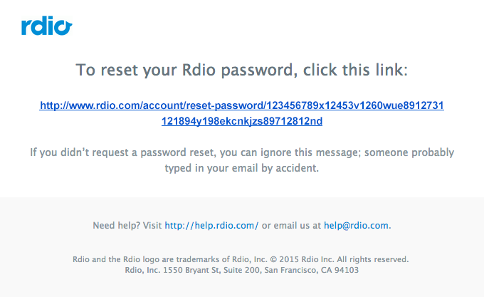 Resetting your Rdio password