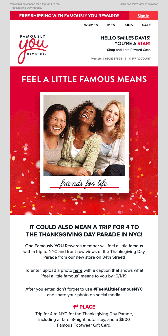 Rewards Member Exclusive! Enter for a trip to NYC