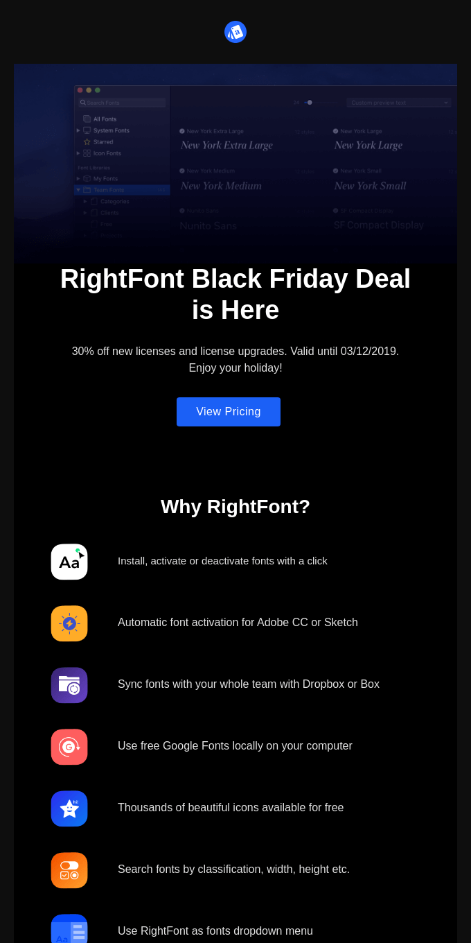 RightFont Black Friday Deal is Here! Take 30% Off