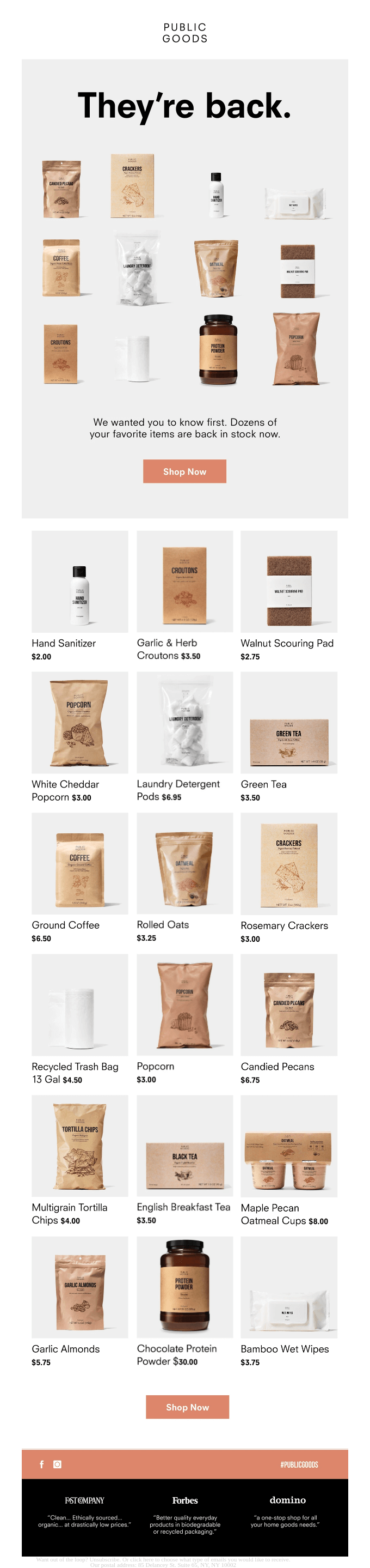 See What's Back In Stock.
