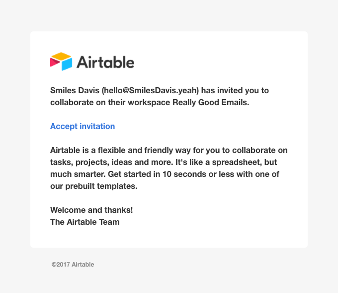 Smiles Davis (hello@SmilesDavis.yeah) invited you to their workspace Really Good Emails – Airtable