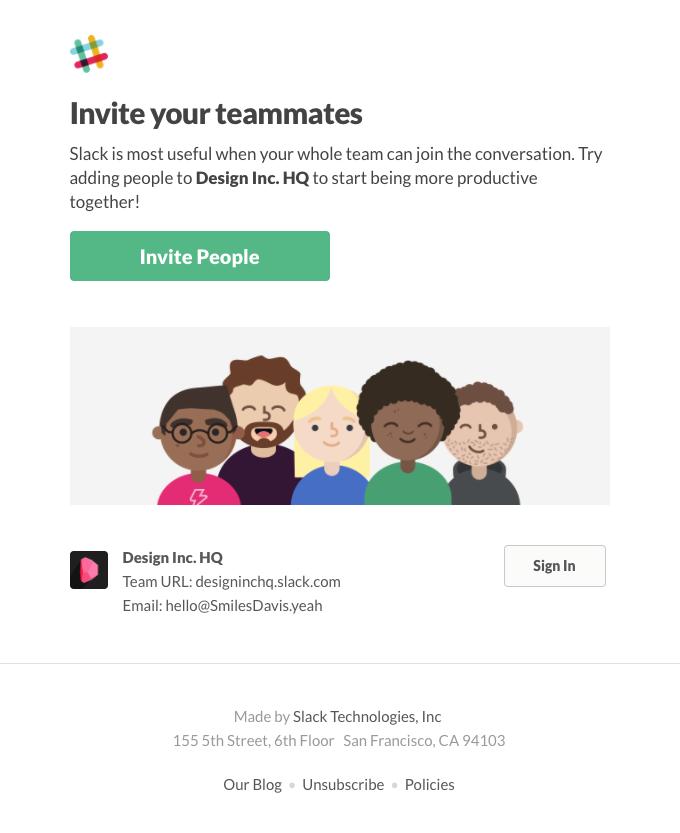 Smiles Davis, invite people to Slack