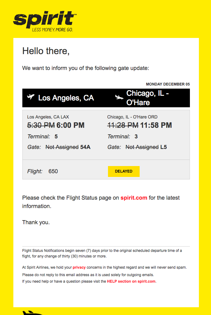 Spirit Airlines Flight 650 – Gate/Terminal Update
