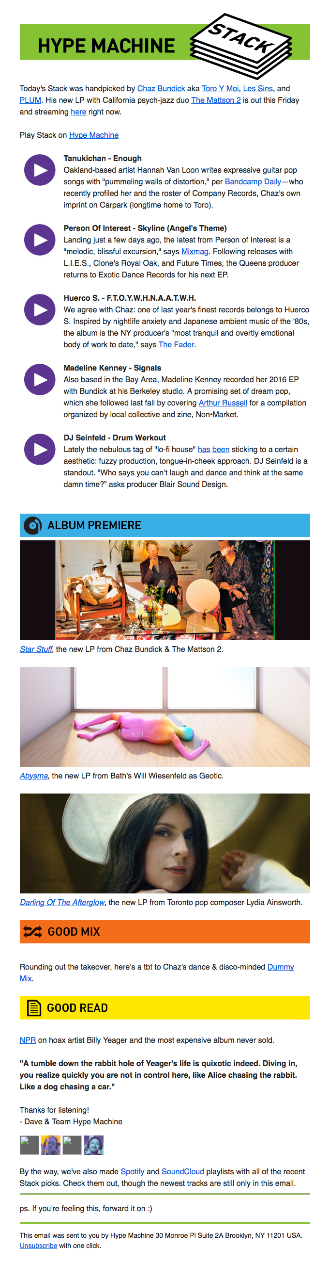 Music Emails | Really Good Emails