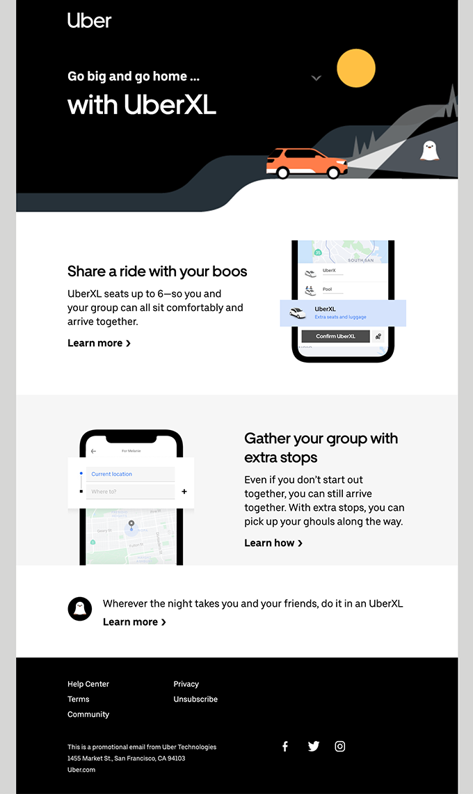 Start the night big with UberXL 👻
