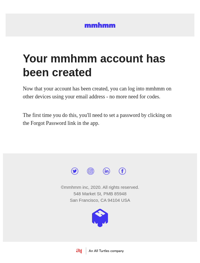 Success! Account created.
