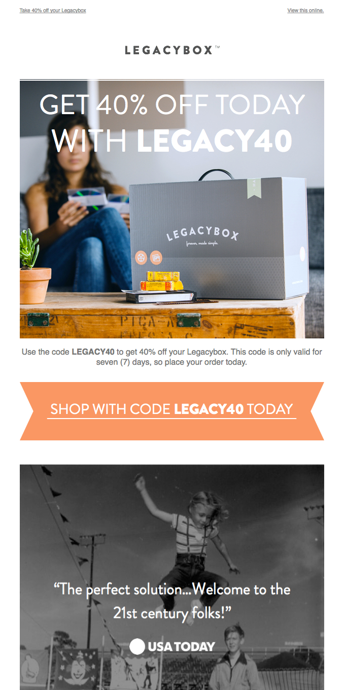 Take 40% off your Legacybox