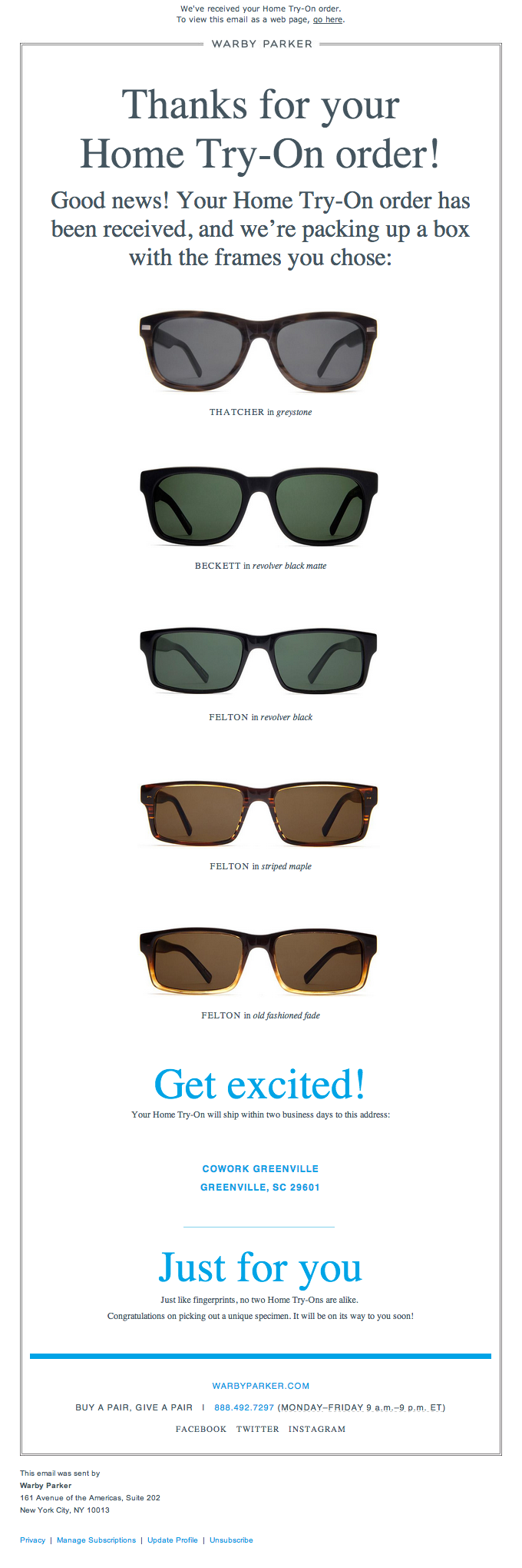 Thank you for your Order Email Design from Warby Parker