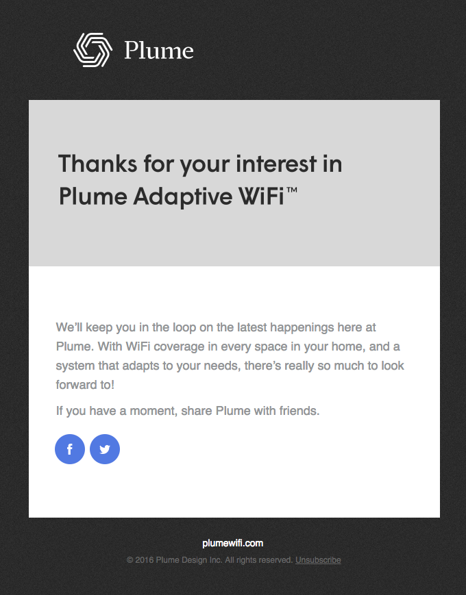 Thanks for your interest in Plume!