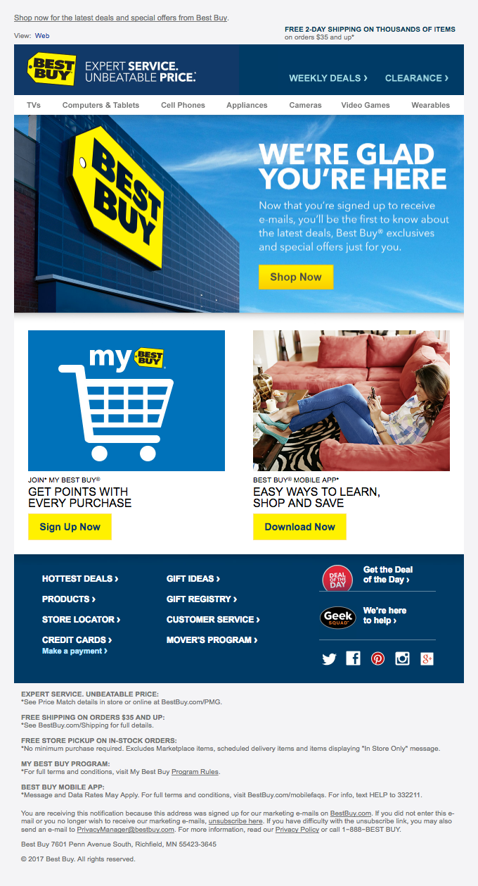 Thanks….you're all signed up to receive Best Buy e-mails