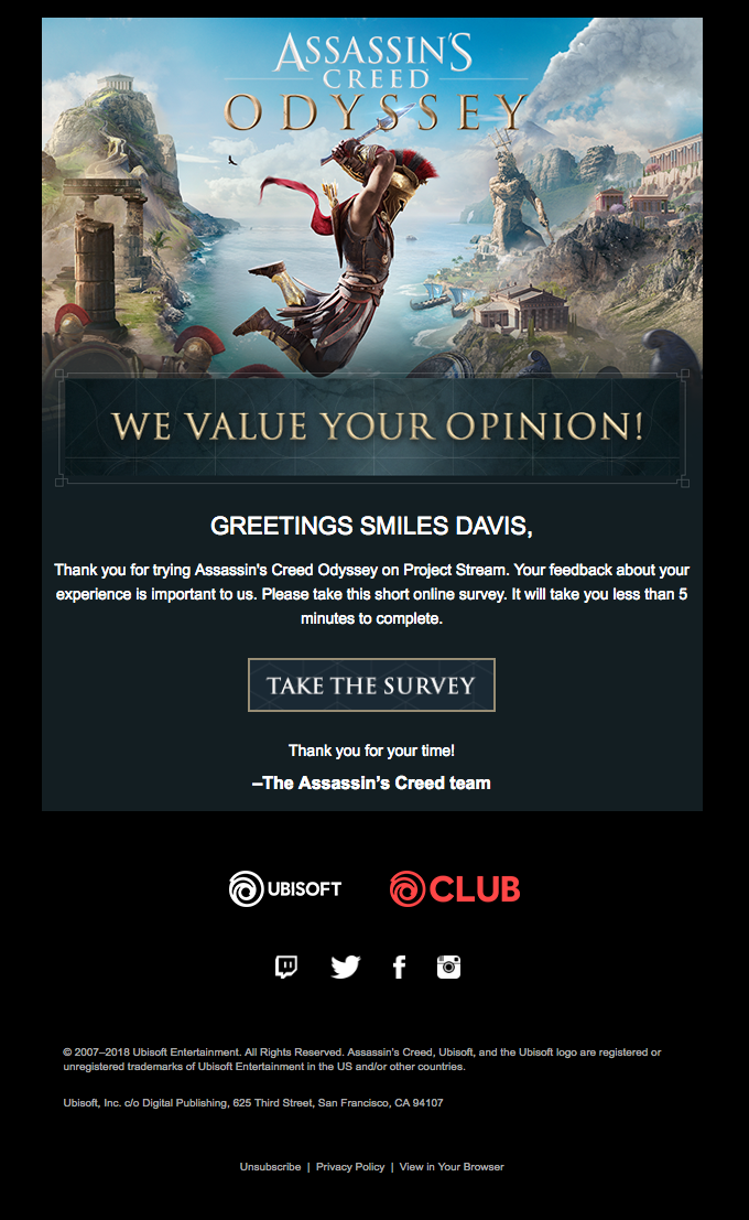 The Assassin's Creed Odyssey team values your opinion!