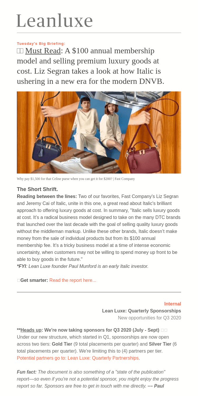 The Debrief No. 434: MUST READ: Italic's $100 annual membership and selling luxury goods at cost — The intentionally ugly Gen Z aesthetic.