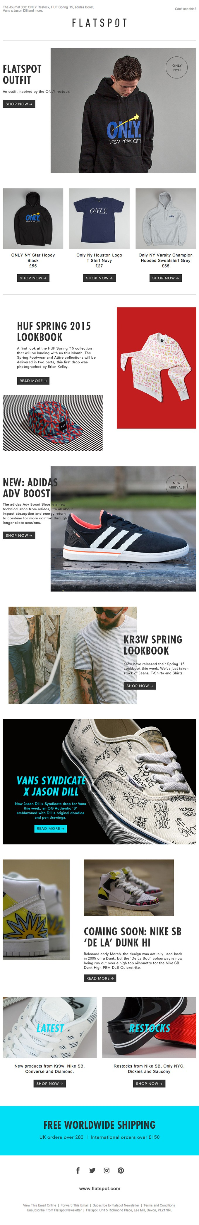 The Journal 030: ONLY Restock, HUF Spring '15, adidas Boost, Vans x Jason Dill and more.