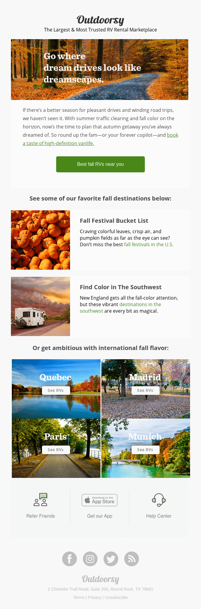 The most colorful fall road trips near you