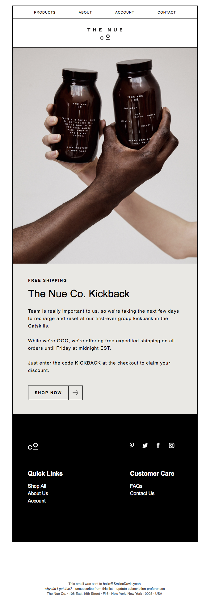 The Nue Co. Kickback Free Expedited Shipping