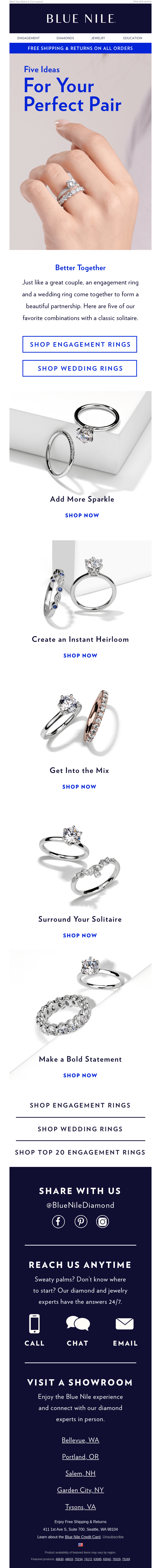 The Perfect Pair: Explore Engagement Rings & Wedding Bands To Match