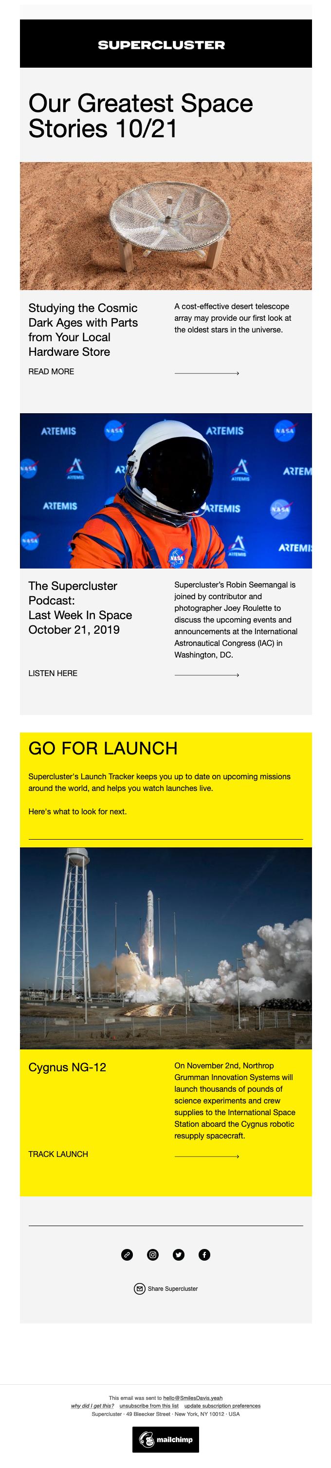 The Supercluster Newsletter 10.21.19