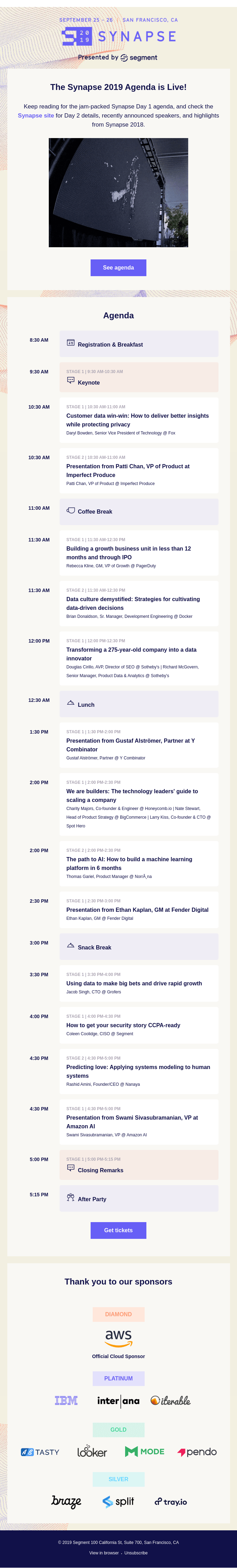 The Synapse 2019 Agenda is here!