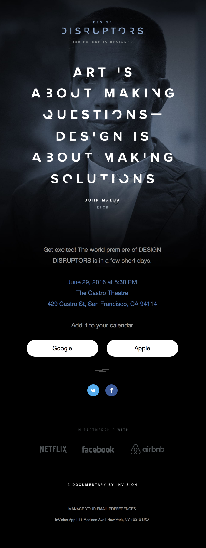 The world premiere of DESIGN DISRUPTORS is this Wednesday!
