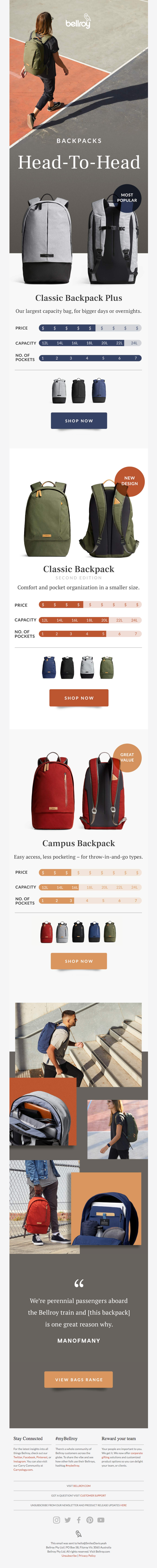 Three classic backpacks, head to head.