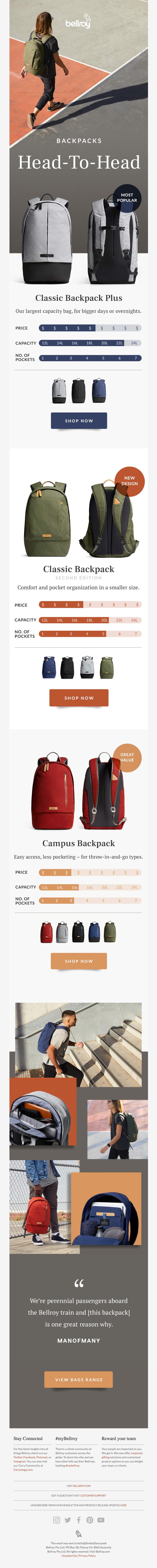 Three classic backpacks, head to head.