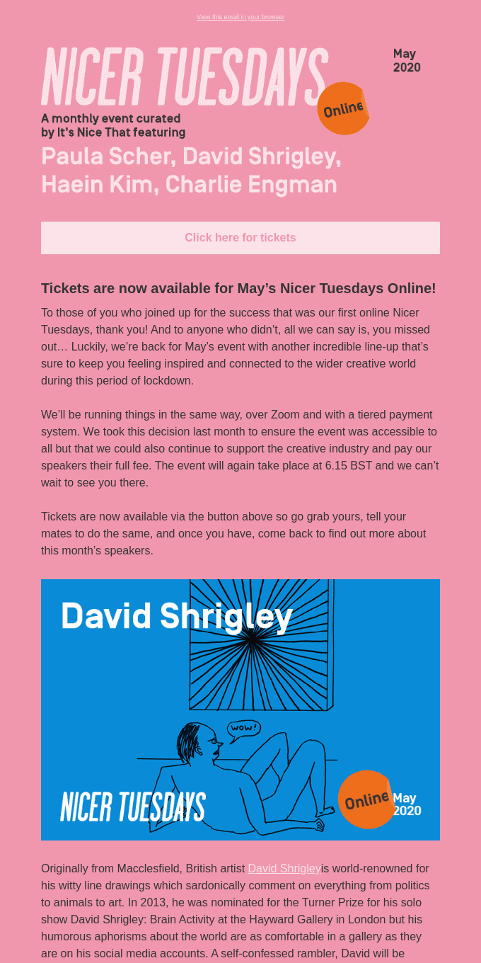 Tickets are now available for May's Nicer Tuesdays Online!