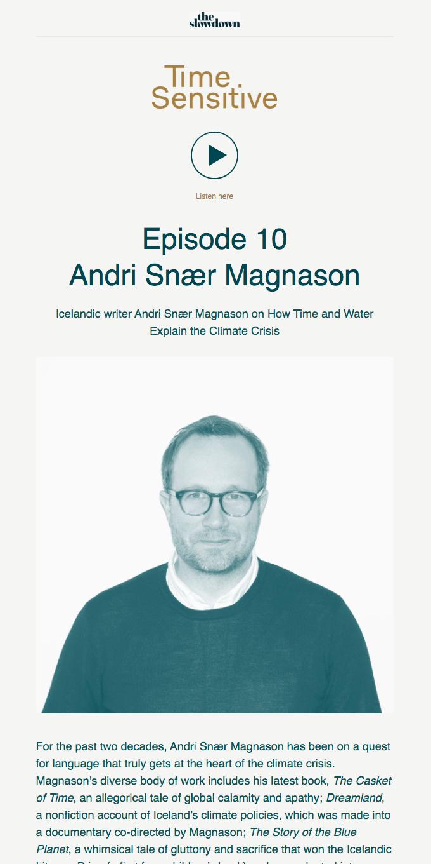 Time Sensitive Podcast Ep. 10: Andri Snær Magnason