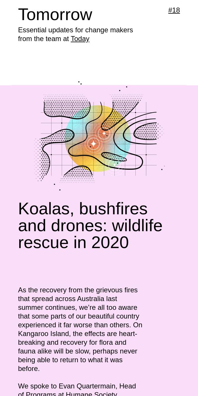 Tomorrow #18 - Koalas, bushfires and drones
