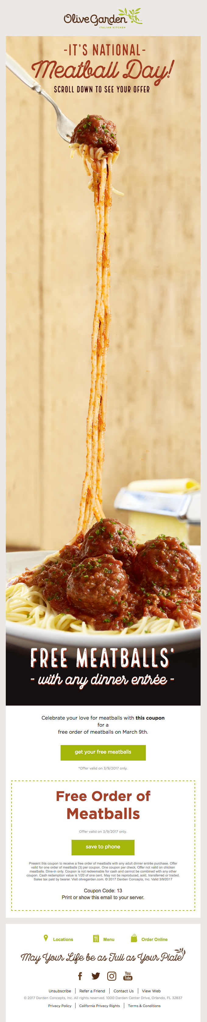 Tonight only! FREE Meatballs