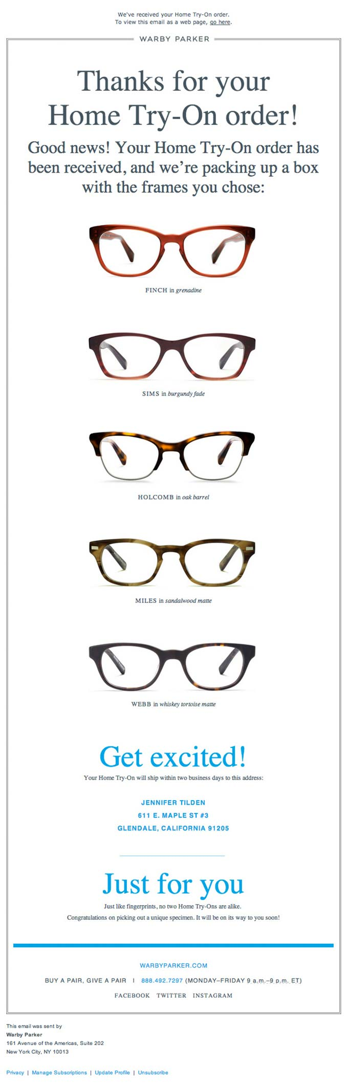 Transactional Update Email Design from Warby Parker