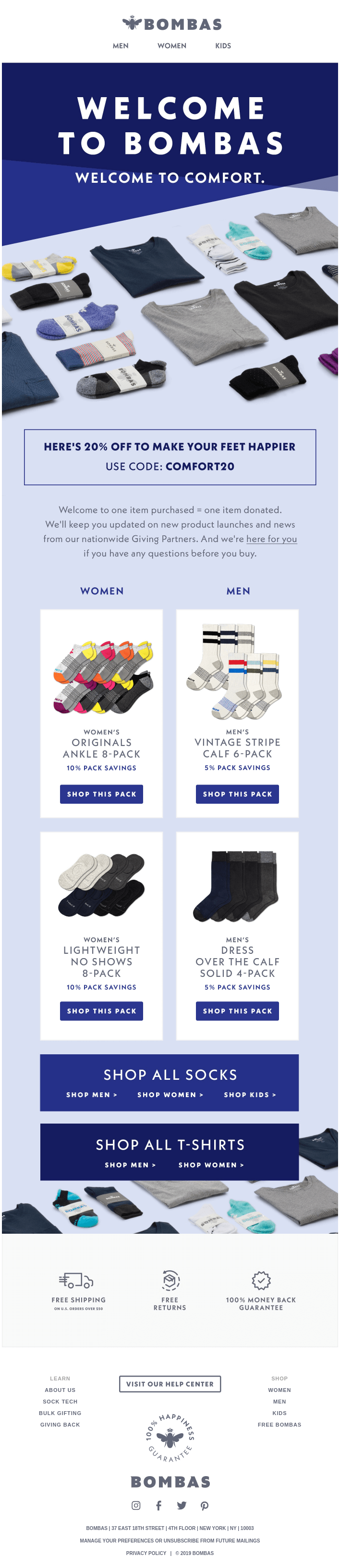 Treat yourself to Bombas socks at 20% off.