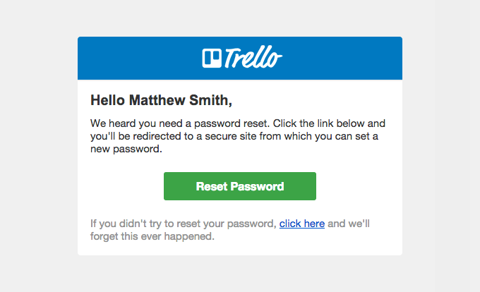Trello Password Reset