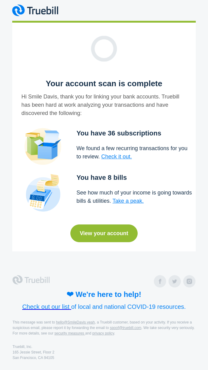 Truebill just found new subscriptions