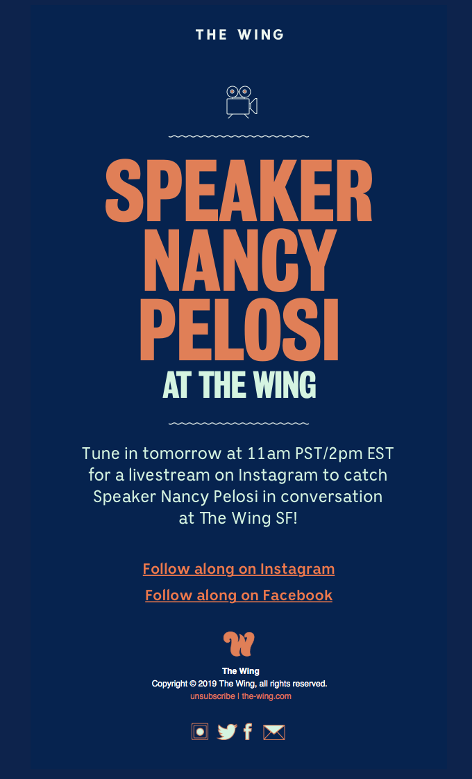 Tune In: Speaker Nancy Pelosi at The Wing!