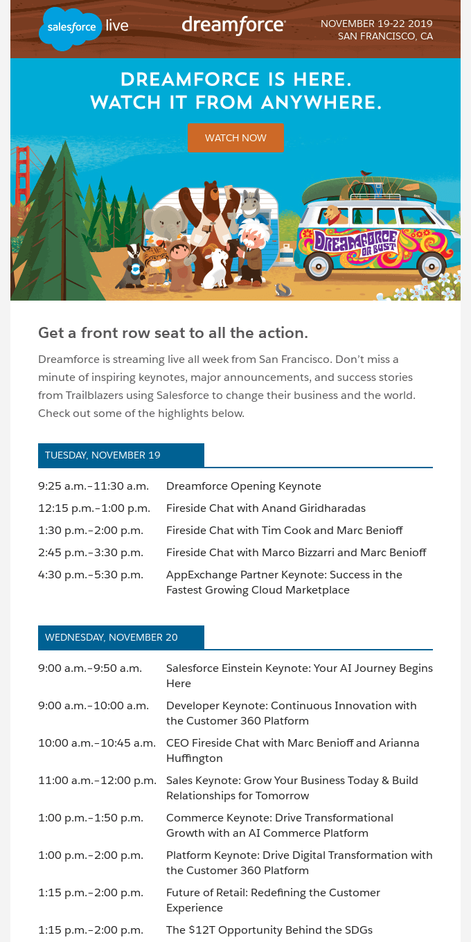 Tune in to Dreamforce live all week