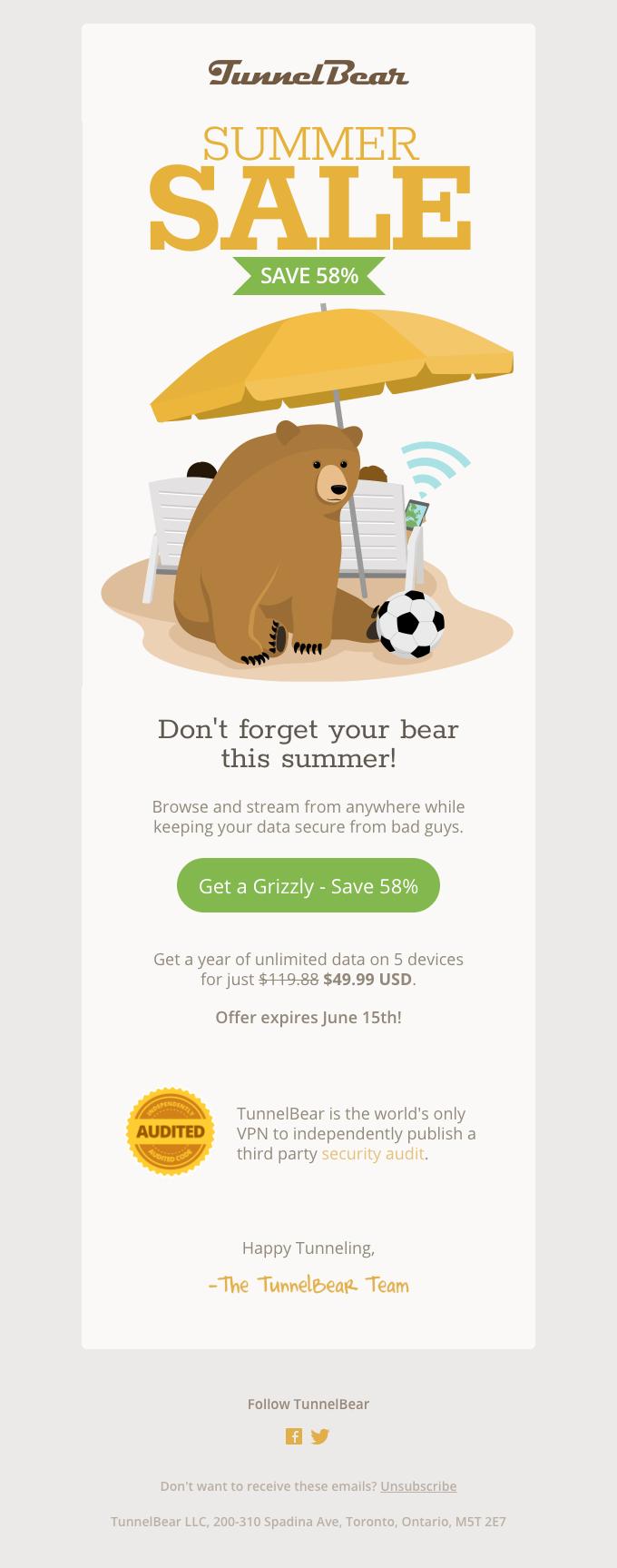 TunnelBear Summer Sale – Save 58%