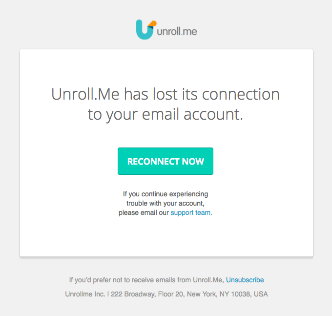 Unroll.Me has stopped working