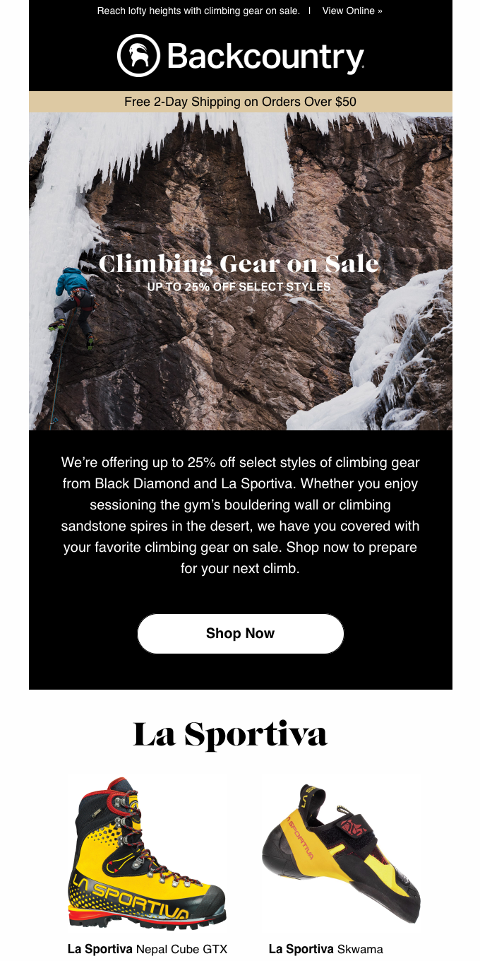 Up to 25% off Your Favorite Climbing Gear